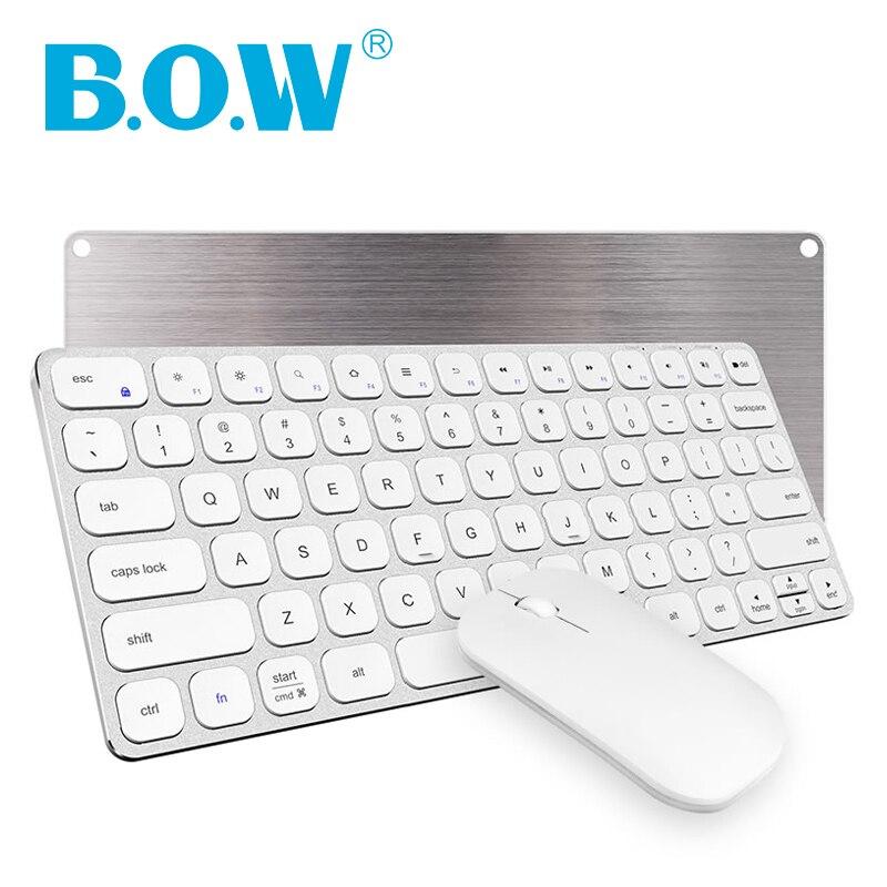 B.O.W Premium Slim métal 2.4 Ghz clavier et souris sans fil (Rechargeable et silencieux) pour ordinateur de bureau, ordinateur portable avec Port USB