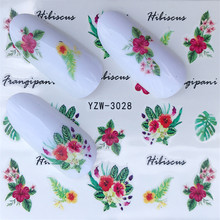 FWC 1 Sheet Summer Green Leaf/Flower Fragrance Designs French Nail Water Decals Ar Transfer Stickers Decoration DIY(China)
