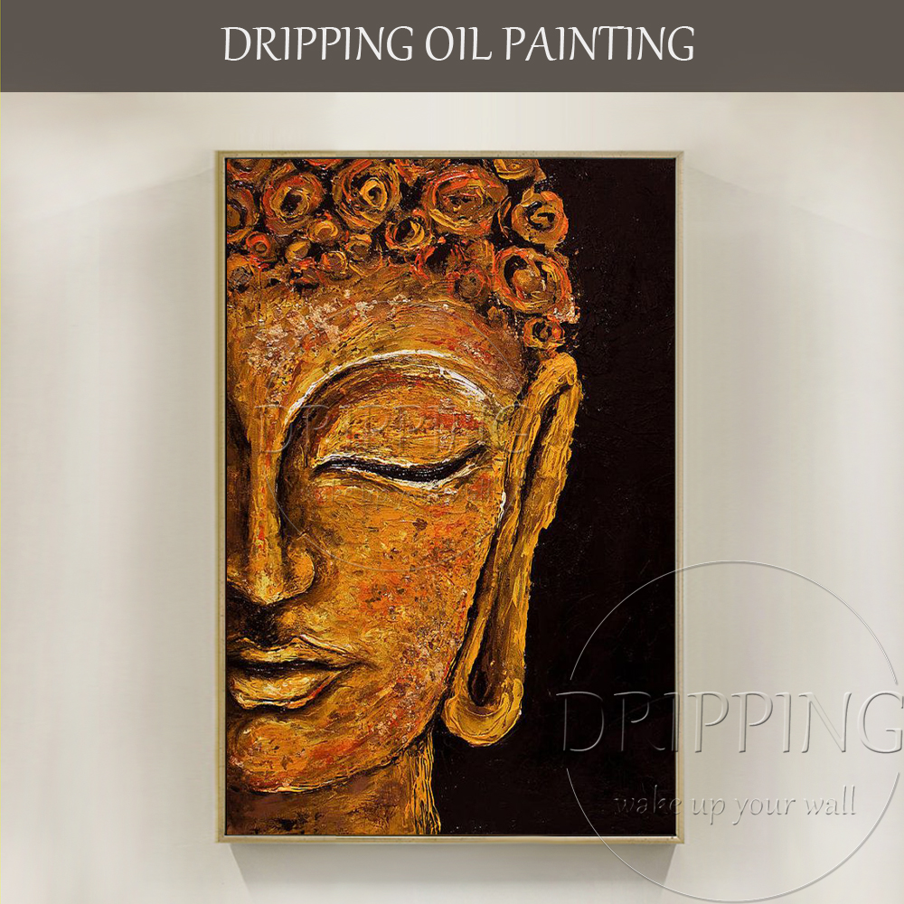 New Design Artist Hand-painted High Quality Modern Buddha Portrait Oil Painting on Canvas Buddha Head Oil Painting for Book Room