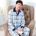 2016 de Alta Qualidade do Algodão dos homens calças de pijama de algodão longo-sleeved algodão xadrez do homem Outono Sleepwear 049