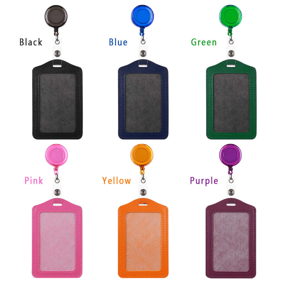 1pc No Zipper Cheap Bank Credit Card Holders Bus ID Card Holder Identity Red Yellow Blue Badge with Retractable Reel