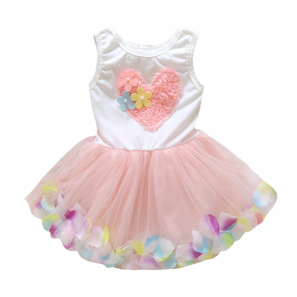 Cute Prom Girls Dress Kids Clothes 2019 Summer Toddler Baby Girl Princess Flower Lace Tulle Tutu Party Dress 1 2 3 4 Years