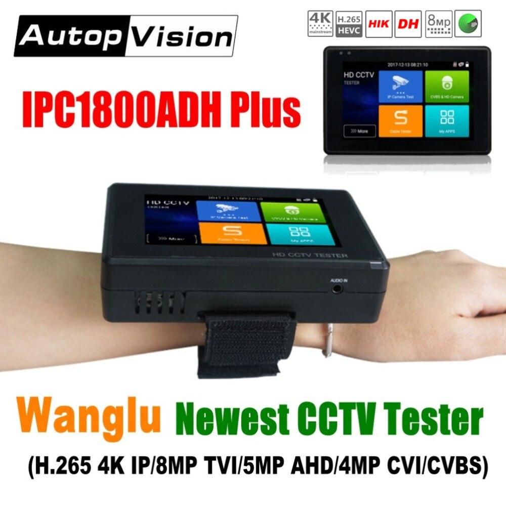 Wanglu Date 4 pouces Poignet CCTV IP testeur de caméra H.265 4 K IP 8MP TVI 4MP CVI 5MP AHD Analogique 5 -en-1 CCTV Testeur Moniteur avec WIFI