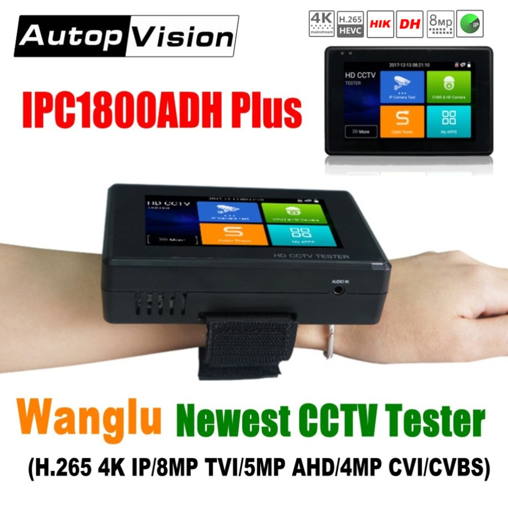 Wanglu Neueste 4 zoll Handgelenk CCTV HD Kamera Tester H.265 4 karat IP 8MP TVI 4MP CVI 5MP AHD Analog 5-in-1 CCTV Tester Monitor mit WIFI