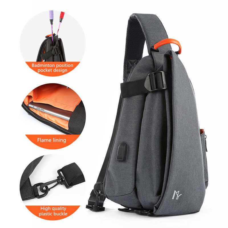 Chest Bag Men Multifunction Fashion Crossbody USB Charging Pack Short Trip Messengers Water Repellent Shoulder
