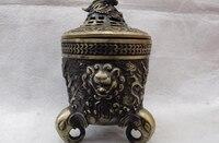 Folk Classic Bronze Copper Elephant legged Dragon Buddhism Censer incense burner