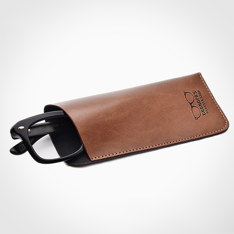 6ad3423fb72 Soft Retro Leather Eyes Reading Glasses Bag PU Leather Pocket Glasses Pouch  For Men Sunglasses Bag