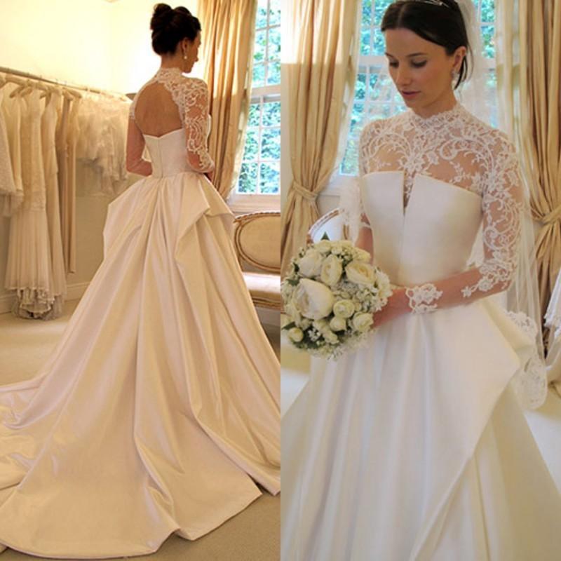 Robe De Soriee New Simple Wedding Dress Full Sleeve Lace: Alice Novia 2018 Hot Sale Long Sleeve Lace Dress A Line
