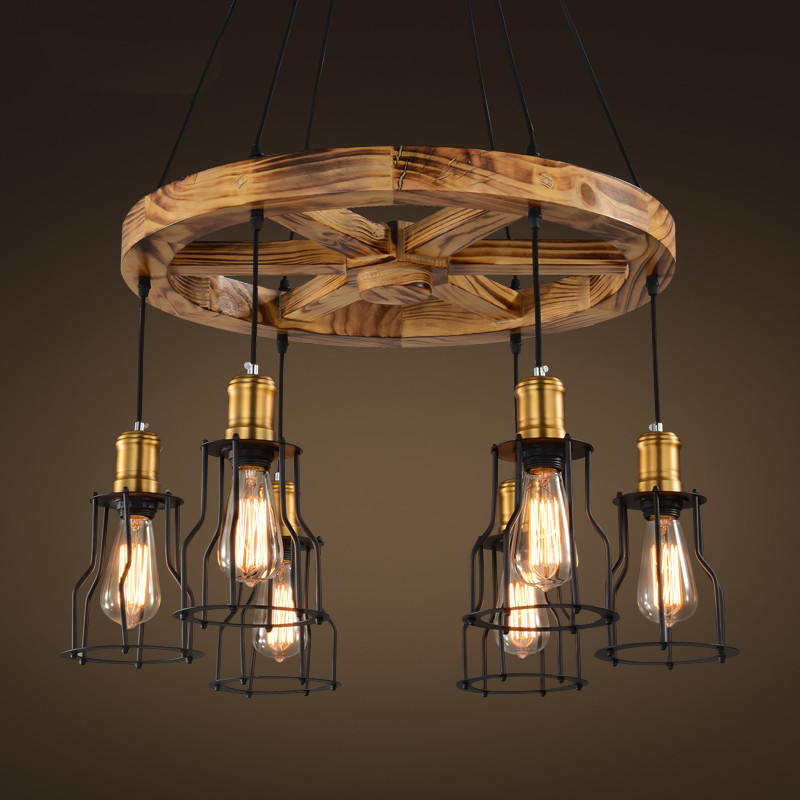 Buy Industrial Vintage Iron Wood Cage Pendant Light Living Room Pendant Hanging