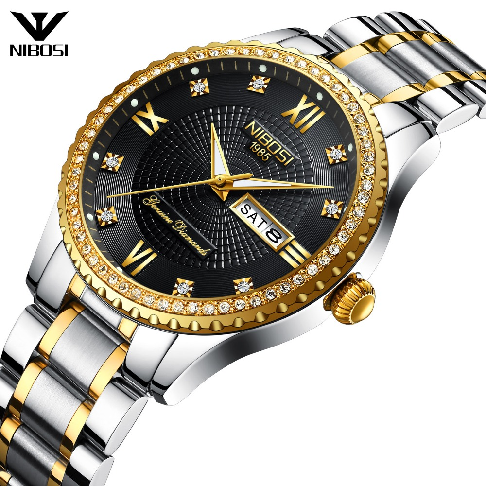 цена на Drop Shipping 2315 NIBOSI Relogio Men's Watch Luxurious Casual Stainless Steel Band Quartz Wristwatches With Date
