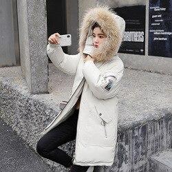 2019 Winter Jacket Women Fur Hooded Parka Long Coats embroidery Cotton Padded Winter Coat Women Warm Thicken Jaqueta Feminina 5