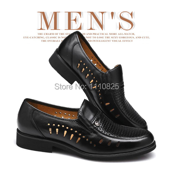 ФОТО Free shipping Full Grain Leather summer Flats shoes for men, men's Cut-Outs large size shoes (Black, Brown) size:35-49