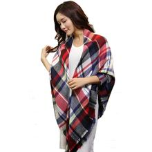 Stylish 2015 Winter Women 142*136CM warm Scarf Wrap Shawl Plaid Cozy Checkered for lady thicken Blanket Oversized Tartan