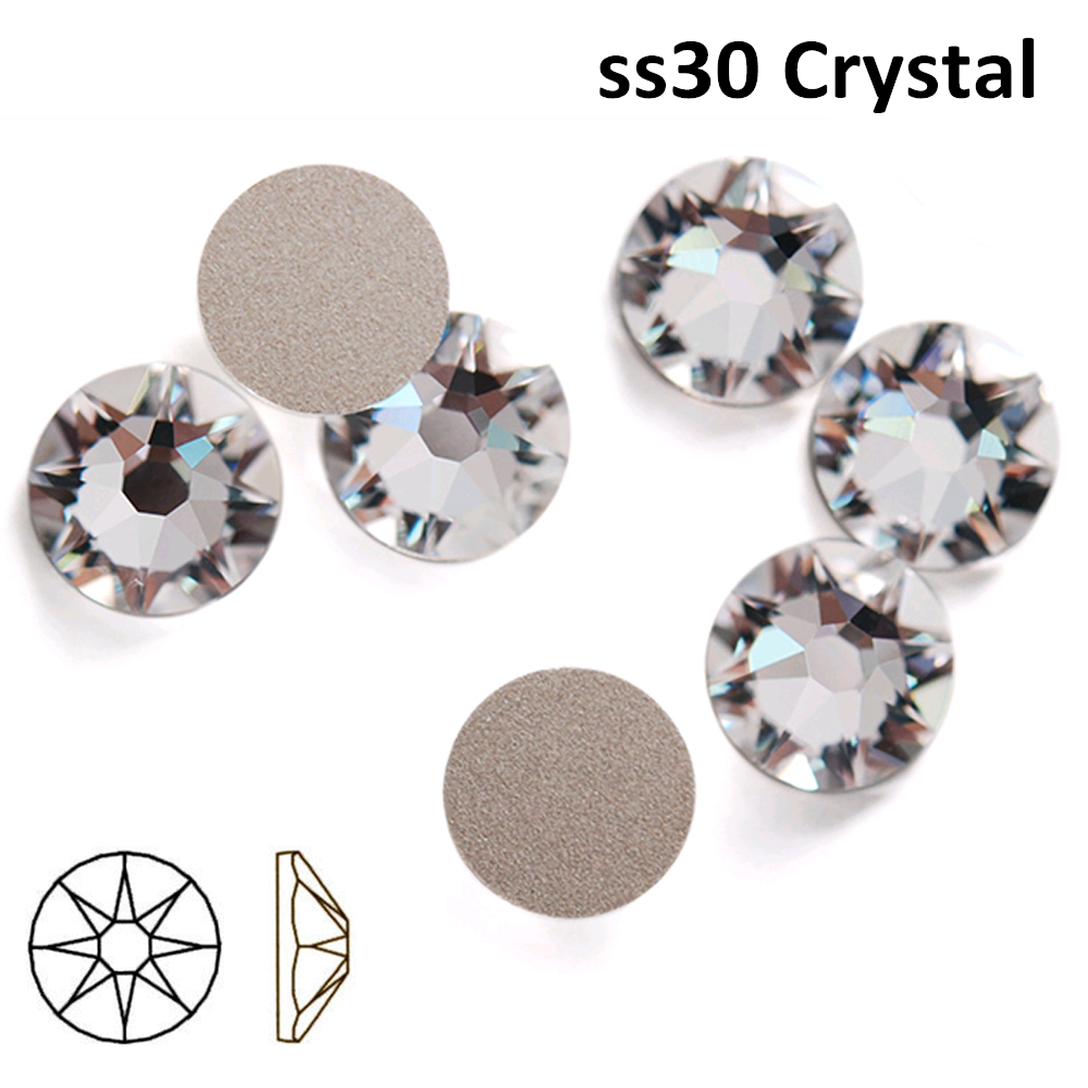 Free Shipping! 288pcs/Lot, AAA Chinese Top Quality Ss30 (6.3-6.5mm) Crystal/Clear Flat Back Nail Art Non Hotfix Rhinestones