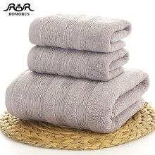 ROMORUS Thick Cotton Towel Set 3pcs/Set 1pc Bath 70x140cm 2pcs Face Towels 35x75cm Gray Adults Bathroom Top Quality