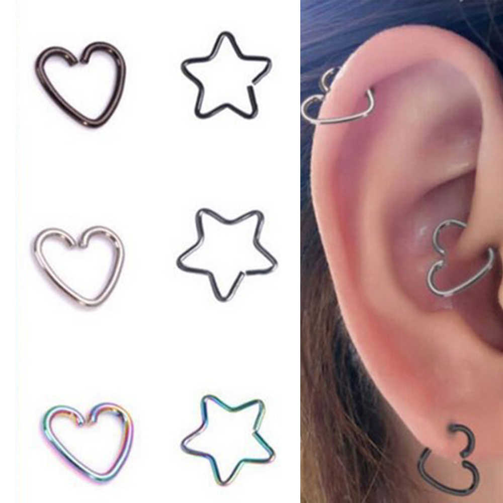 Heart/Star Shaped Fake Piercings Hoop Cartilage Tragus Daith Ear Studs Lip Nose Rings Piercing Earrings Jewelry
