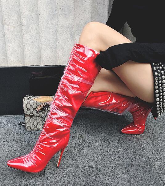 Taille Grande Talons plaid Soie Scène Des De Bout Rouge Femmes Chaussures Mi Hot mollet Minces Sexy En Transparent Bottes Pointu noir UwPg1qW7xt
