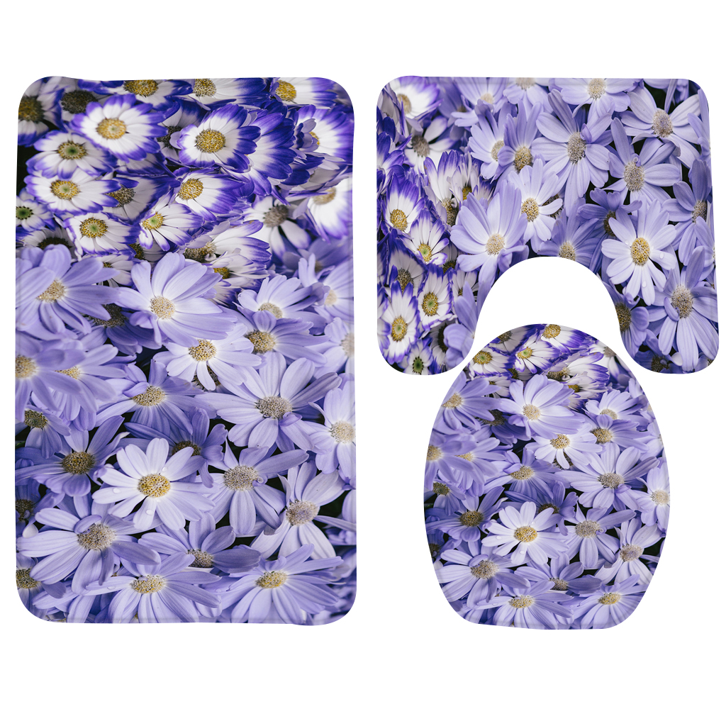 2019 Bath Mat Set Flower Purple Daisies Daisy Pattern Bathroom Mat Anti Slip Bath Rug And Toilet Sets Bathroom Products From Lienal 23 91