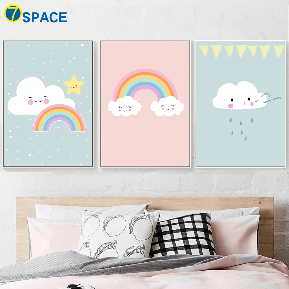 7 Space Clouds Rainbow Nordic Poster Cartoon Canvas Painting Kids Room Wall Art Canvas Prints