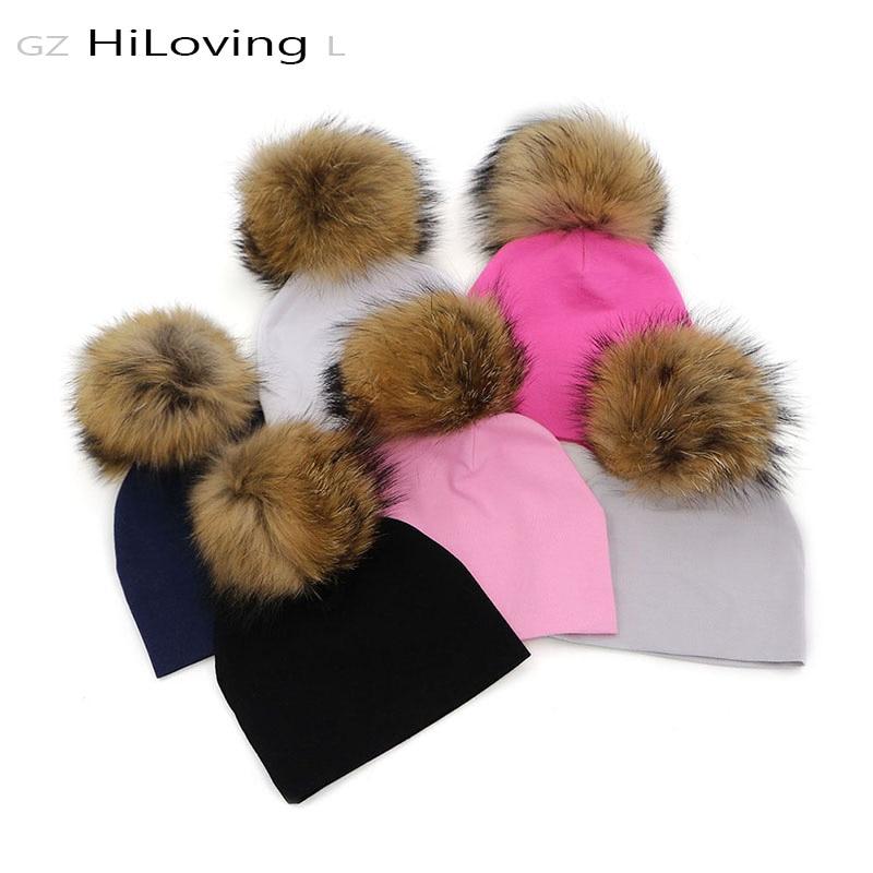 GZhilovingL Soft Winter Baby Cotton Hat 0-5 month Baby Girls Boys Fur Pompom Hat Autumn Winter Baby Girls Hat Little baby Hat