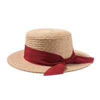 Hat Summer Women's Raffia Straw Boater Hat Chapeau Femme Vacation Sun HatsFemale UV Protection Top Quality 691096