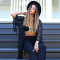 Прочный 2016 Лето стиль Sexy Women See Through Кружева Кимоно Кардиган Рубашка Блузка Кисточки Топ плюс размер