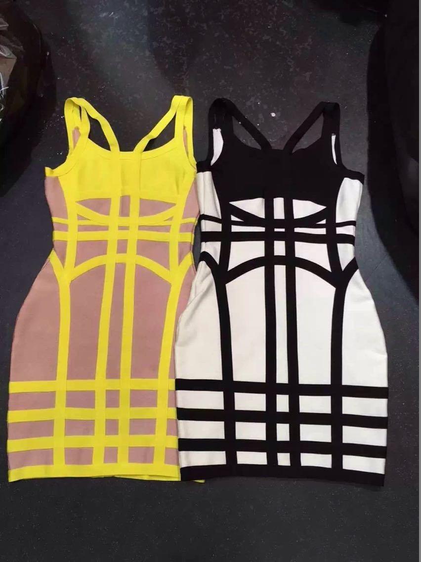 Mini Bianco Fasciatura Colore Nero Di Clubwear Geometrica Qualità Plaid Giallo Alta Rayon Sexy Aderenti Cinghie Vestiti 2015 wzSqaP1