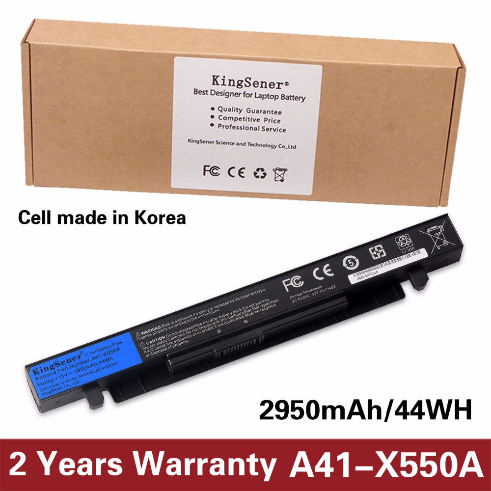 все цены на 15V 2950mAh Korea Cell New A41-X550A Laptop Battery for ASUS A41-X550 X450 X550 X550C X550B X550V X550D X450C X550CA 4CELL онлайн