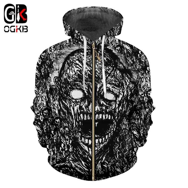 OGKB 2019 nuevos hombres/mujeres 3d impreso negro y blanco Terror cremallera Sudadera con capucha otoño chaqueta Hipster Punk Casual streetwear