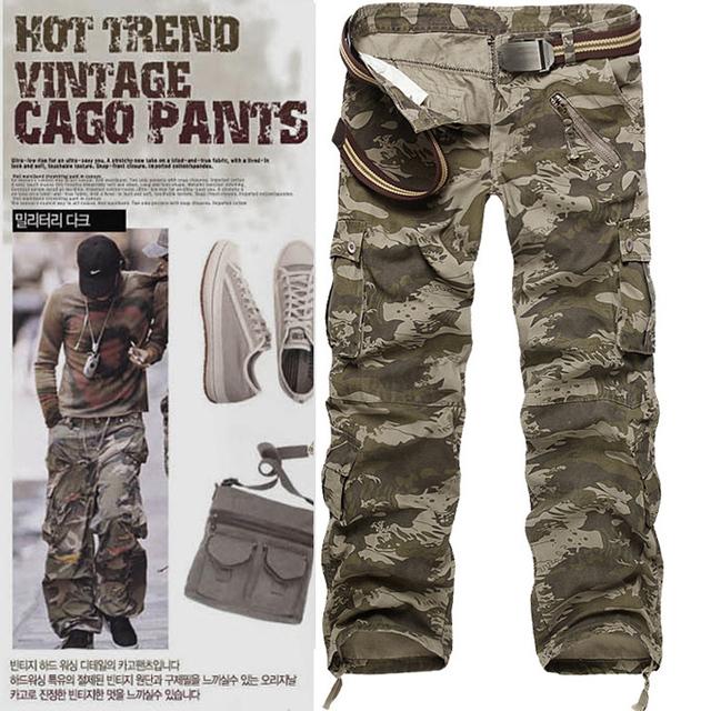 2017 Marca pantalones de los hombres Del Ejército Militar Pantalones Más Tamaño Overoles multibolsillos Pantalones de Camuflaje de Carga Hombres pantalones casuales recta