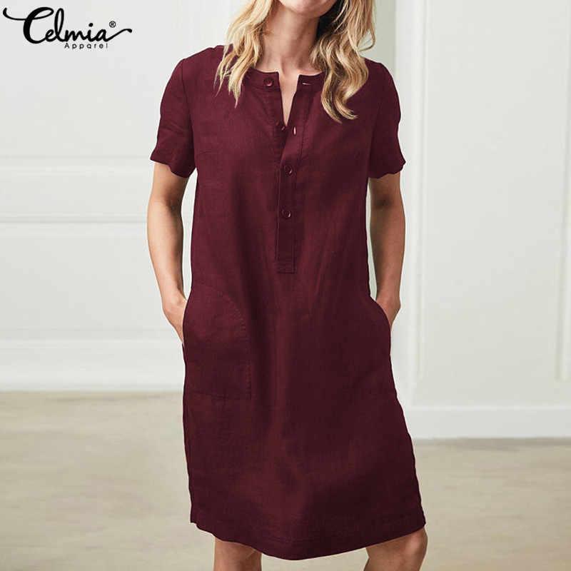ff79e0a7dab ... Plus Size Women Linen Shirt Dresses 2019 Celmia Summer Mini Dress  Vintage Cotton Short Sleeve Vestido ...