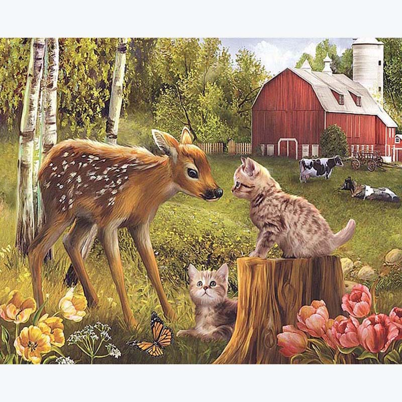 Full Square Cat Deer 5D DIY Diamond Painting Kit Embroidery Mosaic Crystal Cross stitch Animal Home Decorative Round Drill Gift in Diamond Painting Cross Stitch from Home Garden