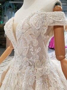 Image 4 - LS014478 מבריק שמלת כלה עם נצנצים מתוקה כבוי כתף תחרה עד v בחזרה ממפעל אמיתי abito דה sposa קורטו