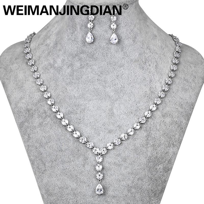 WEIMANJINGDIAN Long Drop Cubic Zirconia CZ Crystal Tennis Necklace and Earring Wedding Jewelry Sets for Bride or Bridesmaid weimanjingdian sparkling cubic zirconia crystal flower design pull string zirconium wedding bracelets for girls or wedding