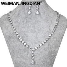 WEIMANJINGDIAN Long Drop Cubic Zirconia CZ Crystal Tennis Necklace and Earring Wedding Jewelry Sets for Bride or Bridesmaid