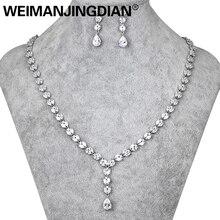 WEIMANJINGDIAN uzun damla kübik zirkonya CZ kristal kolye ve küpe düğün takısı setleri gelin veya gelinlik