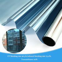 80cmx10m One Way Mirror Window Film Vinyl Self adhesive Reflective Solar film Privacy Window Tint for Home and Office