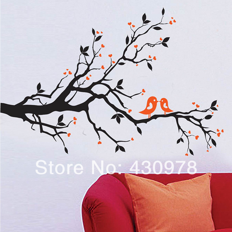 QZ999 Free Shipping 1Pcs Black Branch Tree Heart Leaf Love Bird Removable PVC Wall Stickers <font><b>Elegant</b></font> Fancy <font><b>Home</b></font> <font><b>Decoration</b></font> Gift