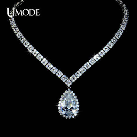UMODE Torques Four Leaf Clover Shaped Chain Necklaces & Pendants With Water Drop AAA+ Cubic Zirconia For Women Jewelry AUN0032 chic blossom water drop body chain for women