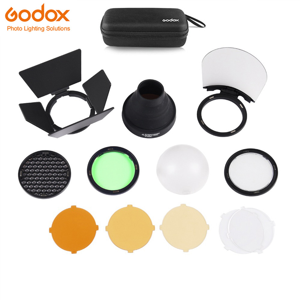 Godox AK R1 Barn Door Snoot Color Filter Reflector Honeycomb Diffuser Ball Kits for Godox AD200 and H200R Round Flash Head