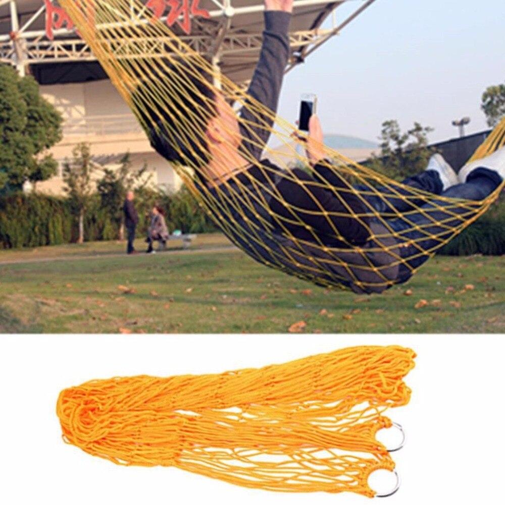 ORANGE Garden Hammock Mesh Net Hang Rope Travel Camp Outdoor Swing Strong Qualit