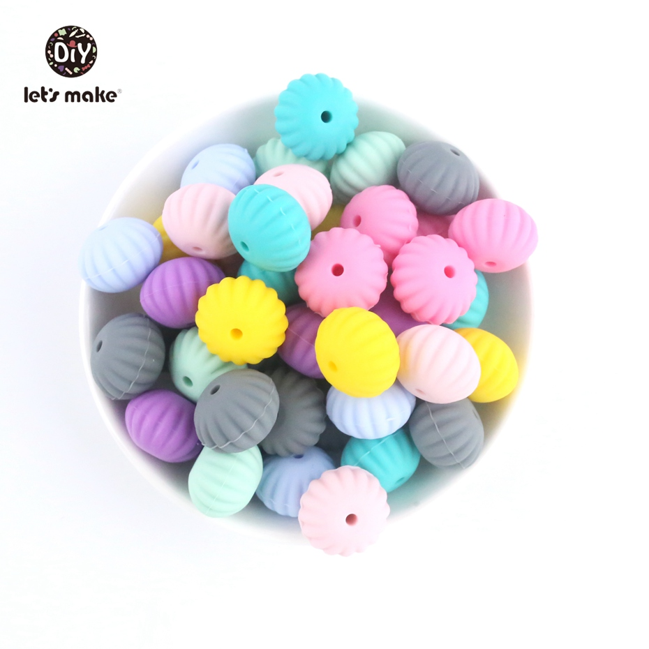 Let's Make 20Pc Shell Silicone Beads Food Grade Chewable Teething Beads Colourful Diy Round Hand Catenary For Kids Baby Teethers