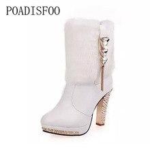 Poadisfoo Женские ботинки высокий каблук 2017 зима новый сладкий платформа Slip-On Белый Черный Женские ботинки обувь на каблуке. LXL-828