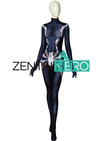 3D diseño de impresión simbionte veneno MJ el lunes Spider traje de hombre Spidergirl Cosplay traje Zentai traje de Halloween - 3