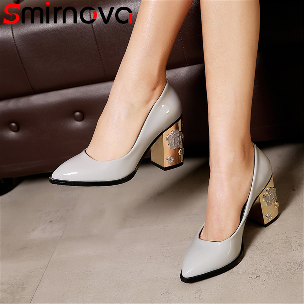 Smirnova big size shoes woman pointed toe shallow pumps women shoes thick heel cow patent leather high heels prom wedding shoes