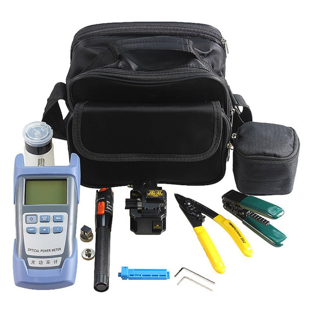 Fiber Optic FTTH Tool Kit with SKL-8A Fiber Cleaver and Optical Power Meter 10km Visual Fault Locator Wire StripperFiber Optic FTTH Tool Kit with SKL-8A Fiber Cleaver and Optical Power Meter 10km Visual Fault Locator Wire Stripper