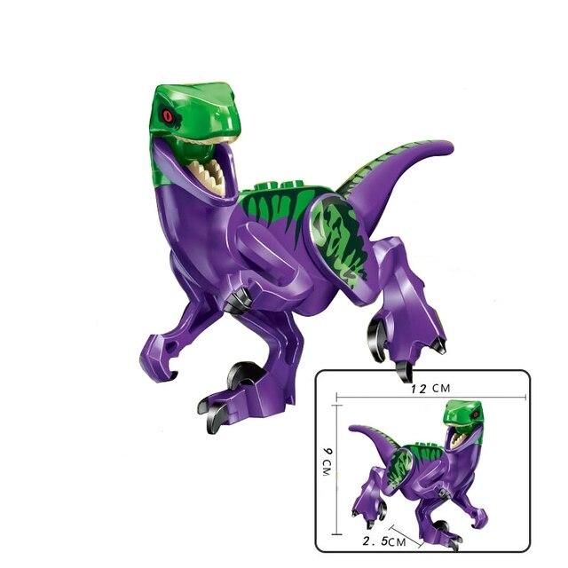 Locking Blocks Jurassic Dinosaurs Tyrannosaurus Rex Wyvern Velociraptor Stegosaurus Building Blocks Toys For Children Dinosaur 5