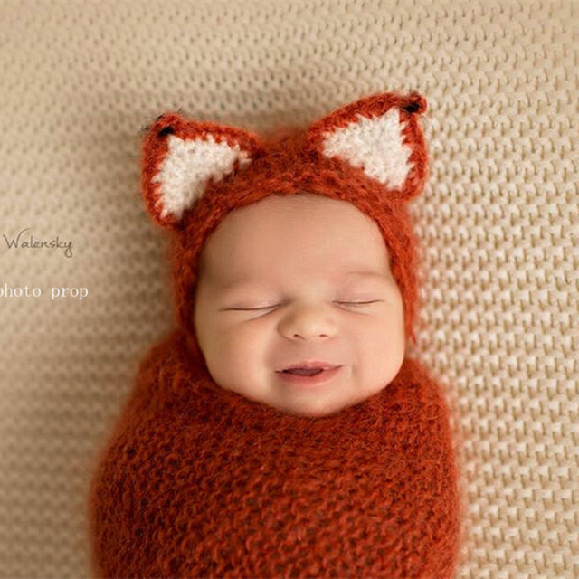 US $22 0 |Knitted Baby Animal Bonnet and Wrap Set Crochet Baby Swaddle  Cocoon Fox Hat Infant Hat Neborn Outfit Photography Props -in Hats & Caps  from