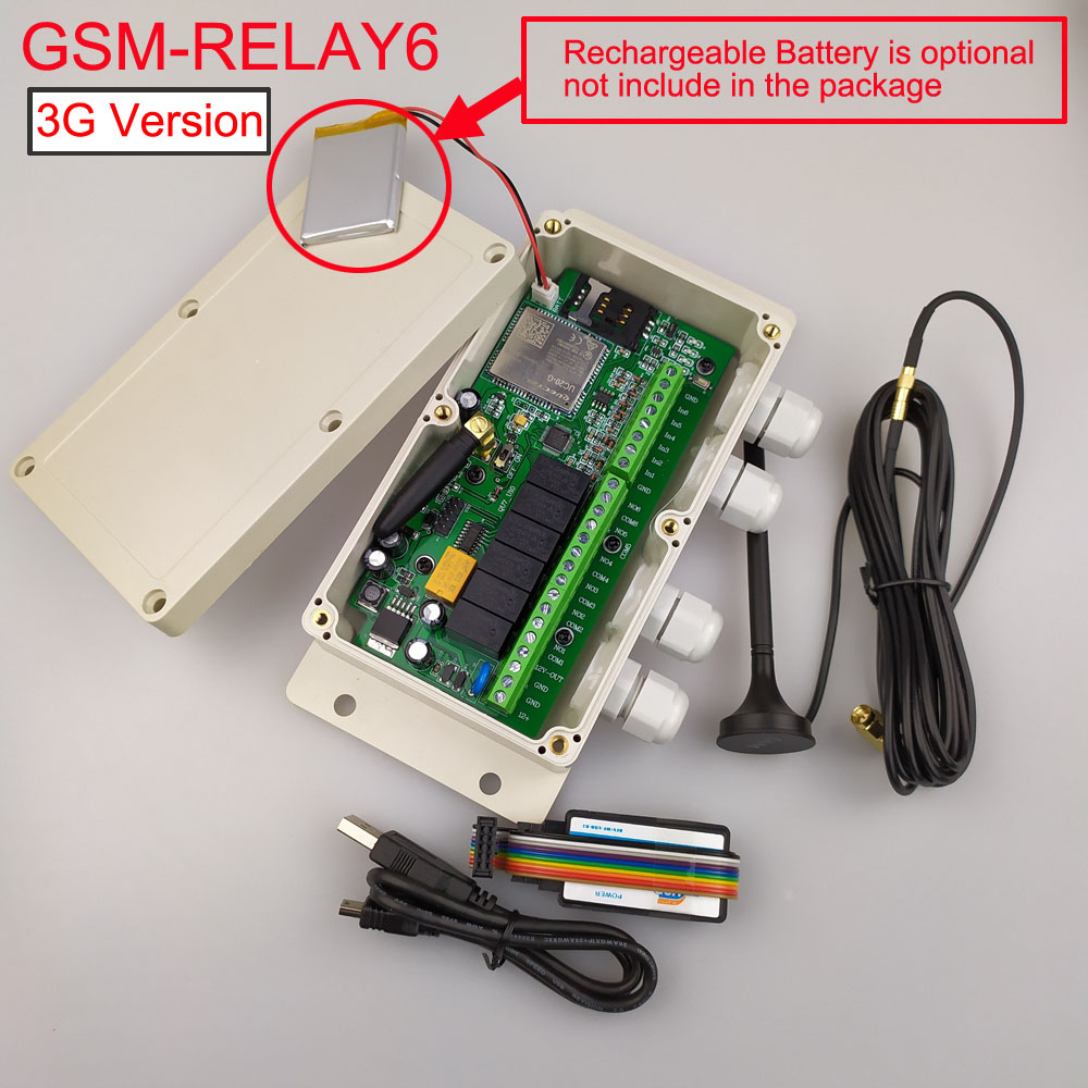 3G GSM controller SMS remote Controller Six Relay output and 6 alarm input port Battery for