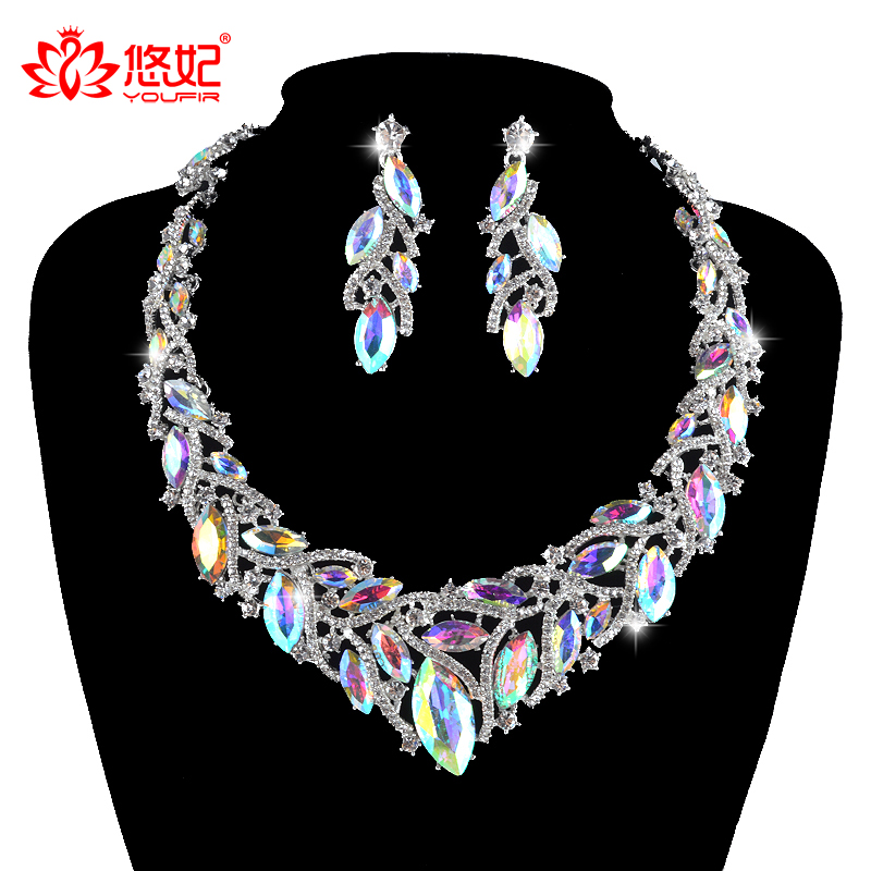 fashion delicate crystal AB color jewelry sets for bridal wedding party necklace earrings women dress rhinestone jewlery a suit of delicate rhinestone necklace bracelet earrings and ring for women